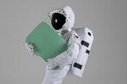 우주 생활 - 이벤트 배너를 들고있는 신나는 우주인