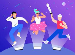 가상현실,VR,가상세계,아바타,메타버스, 게임속 캐릭터들이 온라인에 접속애서 가상세계를 즐기는 모습