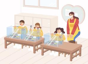 어린이집 점심시간 의료용 마스크 쓴 선생님 1명 어린이 3명이 점심식사 칸막이 거리두기 벡터 아이소메트릭