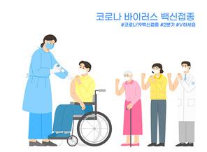 노인 코로나19 백신접종을 위해 기다리는 장애인,군인,경찰