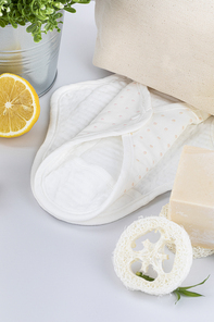 제로웨이스트 - 레몬과 천연수세미,천연 비누 사이에 있는 천연 면 생리대, 클로즈업