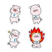 재미있는 돼지 이모티콘 캐릭터들 컬렉션 벡터 세트
