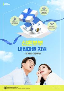 신혼부부지원정책 – 선물상자에서 나오는 집을 바라보는 신혼부부가 있는 포스터