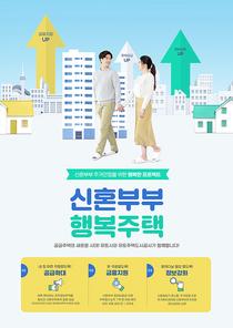 신혼부부지원정책 – 많은 건물들 속 함께 걸어가는 신혼부부가 있는 포스터