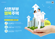 신혼부부지원정책 – 손 안에 아파트 속 껴안고 기뻐하는 신혼부부가 있는 포스터