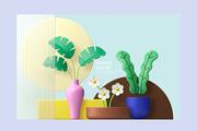 트로피칼 식물과 화분
