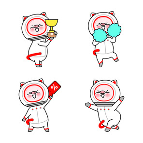 재미있는 우주 돼지 이모티콘 캐릭터들 컬렉션 벡터 세트