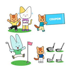 다양한 동작의 의인화된 동물캐릭터가 골프하는 벡터 일러스트 세트