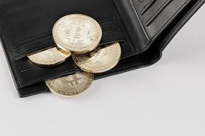 비트코인 - 남성용 검정색 지갑 사이에 껴있는 비트코인
