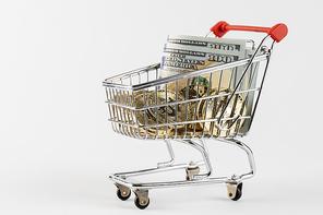 비트코인 - 미니어처 쇼핑 카트에 놓여진 비트코인과 미국 달러