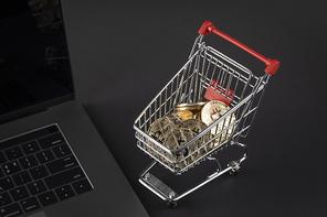 비트코인 - 노트북 옆에 놓여진 비트코인이 들어있는 쇼핑카트 미니어처