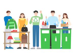 제로웨이스트 필요없는 물건 공유 재활용과 분리배출에 신경써 쓰레기 최소화 벡터 일러스트