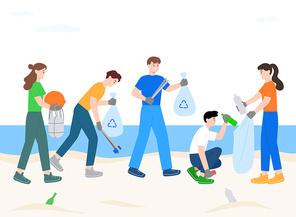 비치코밍 오션 클린업 바닷가 쓰레기 줍는 사람들 벡터 일러스트