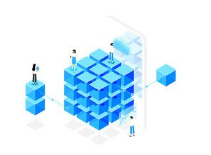 비트코인과 그래프와 차트 스마트폰이 있는 블록체인 기술 시리즈 벡터 일러스트