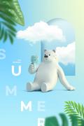 무더위에 선풍기를 들고 있는 곰