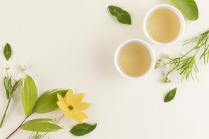 꽃과 식물 - 찻잔과 차 그리고 꽃과 나뭇잎