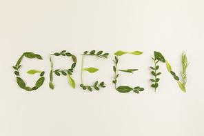 꽃과 식물 - 나뭇잎으로 적힌 GREEN 글씨