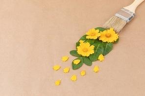 꽃과 식물 - 페인트 붓과 물감 모양의 꽃과 나뭇잎