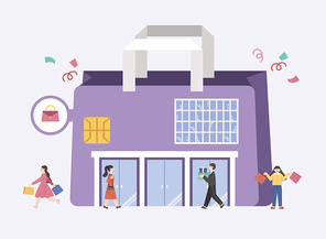 쇼핑몰 백화점 할인 혜택 카드 이벤트 시리즈 벡터 이미지