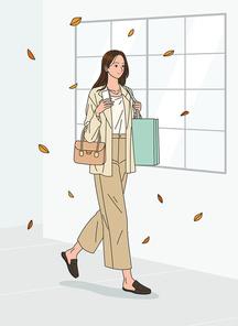 여성 한명이 쇼핑백과 핸드백을 메고 웃으며 거리를 거닐고 있는 벡터 이미지 일러스트