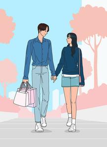 남자 여자 연인두명이 공원 산책로를 걷고 있는 벡터 이미지 일러스트