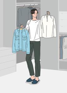 젊은 남성이 외출에 입고갈 옷을 고르는 모습 벡터 이미지 일러스트