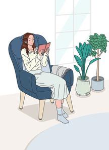 여성 한명이 소파에 앉아 편안하게 휴식하고 있는 모습 벡터 이미지 일러스트