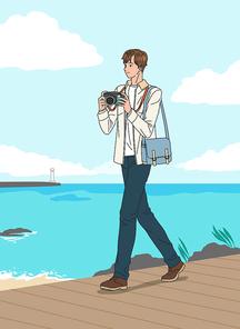 남성 한명이 혼자 여행가서 풍경을 담기위해 카메라로 찍는 장면 벡터 이미지 일러스트