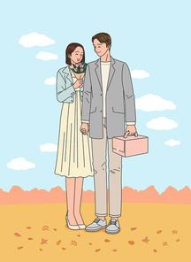 결혼을 앞둔 연인이 손잡고 기념일에 촬영한 장면 벡터 이미지 일러스트