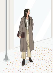 여성 한명이 가을 거리에 서있는 장면 벡터 이미지 일러스트