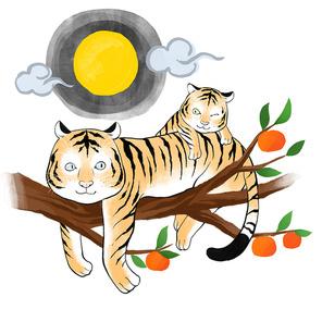 보름달 뜬 가을날 감나무위에서 휴식취하고 있는 호랑이 남매 이미지 일러스트