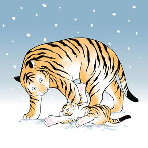 겨울 눈밭에서 장난치고 있는 호랑이 남매 이미지 일러스트