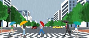 비오는 도심 거리에 사람들이 우산쓰고 횡단보도 건너는 장면 이미지 일러스트