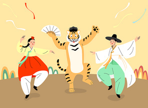 호랑이와 한복입고 춤추는 남자와 여자 벡터 이미지 일러스트