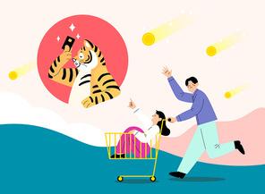 호랑이가 신용카드로 결재하고 하늘에서 현금이 떨어지며 젊은 남자와 여자가 쇼핑카트 타고 가는 벡터 이미지 일러스트