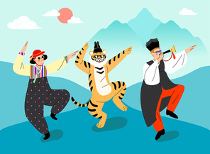 한국 전통 한복의상을 입고 춤을 추고 있는 젊은 남자와 여자 호랑이 벡터 이미지 일러스트