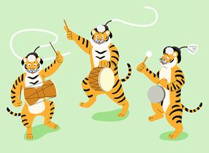 호랑이 3마리가 신명나게 사물놀이 하는 장면 벡터 이미지 일러스트