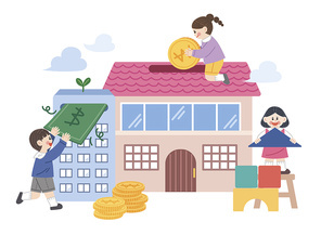 건물 집 청약저축 관련 안내에 대한 어린이들 벡터 이미지 일러스트