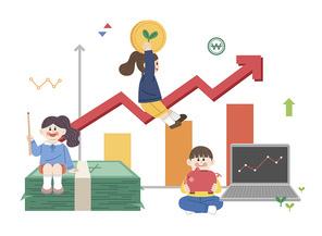 주식 그래프와 현금 어린이 주식교육에 대한 벡터 이미지 일러스트