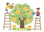 금융나무에 동전을 담고 물주는 어린이들 벡터 이미지 일러스트