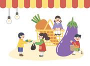 아이들 놀이가게에서 용돈으로 사고 파는 경제 활동놀이 하는 장면 벡터 이미지 일러스트