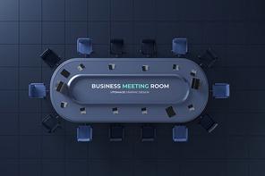3D 비즈니스 회의실 탑뷰