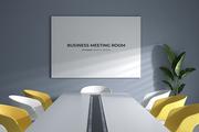 햇살이 들어오는 회의실 목업