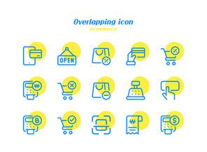 파란색 라인 노란색 원형 배경 인터넷쇼핑 아이콘 벡터 이미지 일러스트