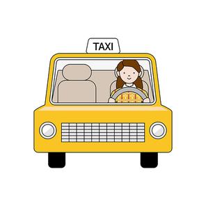여성 운전자가 운전하는 노란색 택시