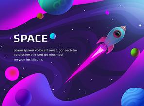 우주를 여행하는 로켓