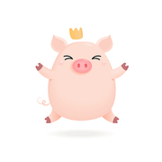 Hand drawn vector illustration of a cute little pig in a crown. Isolated objects on white background. Design concept for Chinese New Year greeting card, holiday banner, decorative element.