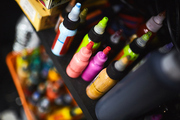 Group of tattoo paints of various colors