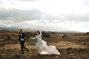 Attractive married couple enjoying honeymoon in Iceland
