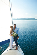 Just married couple sailing together